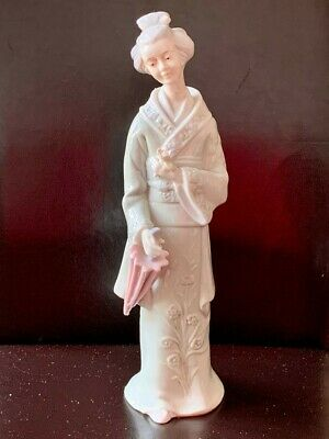 Chinese Celadon Porcelain Figurine Holding a Lotus Flower and a Pink Parasol