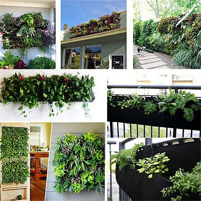 4 Pockets Vertical Garden Wall Planter Hanging Planting Flowers Bag FOR Herb ~JK