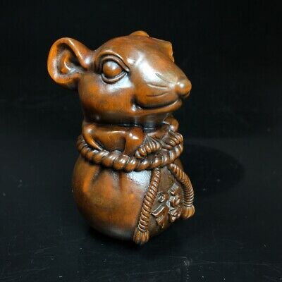Collectable China Old Boxwood Hand-Carved  Lovely Mouse Interesting Decor Statue