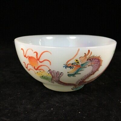 Collect China Old Coloured Glaze Hand Paint Myth Dragon Moral Auspicious Bowl