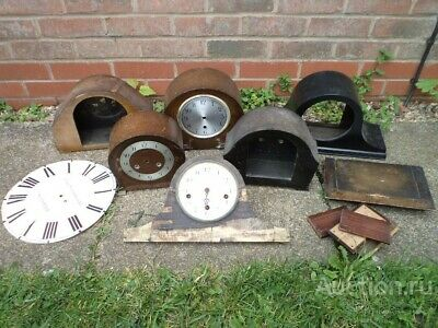 lot wooden antique clock cases, spares/repair ENGLAND 1920-60 s fireplace decor