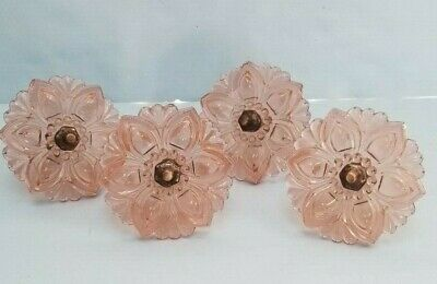 Pink Depression Glass Curtain Tie-Backs Lot of 4