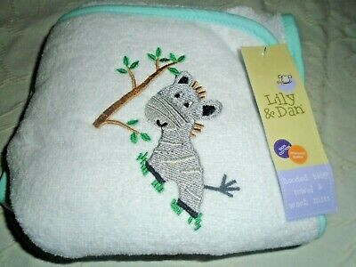 New Lily & Dan Hooded Baby Towel & Wash Mitt,White/Mix  Label On.