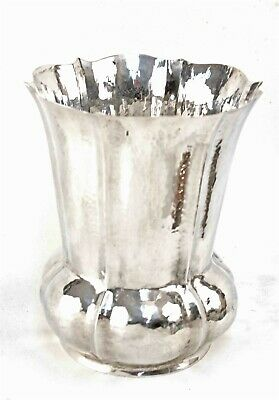 Hand Wrought Italian 800 Fine Silver Hammered Finish Vase