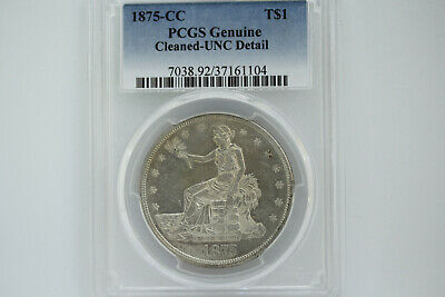 1875-CC Silver Trade Dollar PCGS MS 60. UNC Detail.