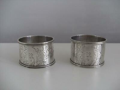 PAIR OF SOLID SILVER NAPKIN RINGS Sheffield 1882