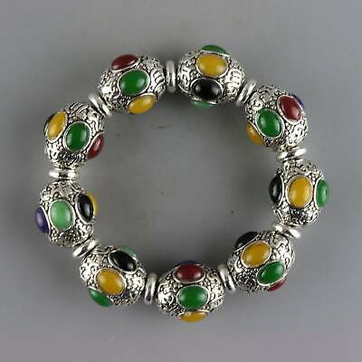 Collectable China Old Miao Silver Inlay Agate Hand-Carve Delicate Noble Bracelet