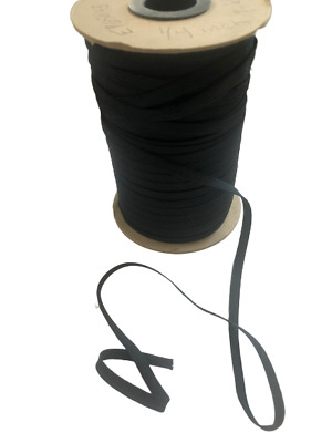 Thin 1/4 inch Elastic Band for Face Mask 8 Yards in BLACK String Cut