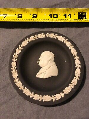 Rare Vintage WEDGWOOD Black and White Jasperware WINSTON CHURCHILL Plate Dish