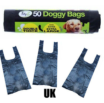 MOST WANTED UK Dog Poo Bags doggy Extra Strong Large Thick Tie Handle Black