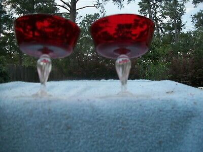 Vtg Handblown Ruby Red W/ Clear Stem Champagne Goblets Venetian Murano  Salviati