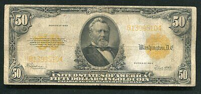 Fr. 1200 1922 $50 Fifty Dollars Gold Certificate Currency Note (B)