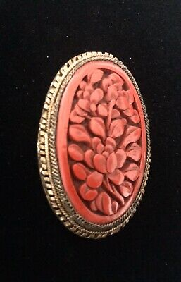 Antique Carved Chinese Cinnabar & Brass Pendant High Detail Vintage Beautiful