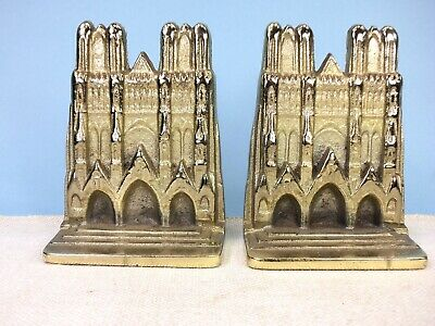 Reims Cathedral (France) Bookends, Brass Plated Cast Iron, Circa 1930's