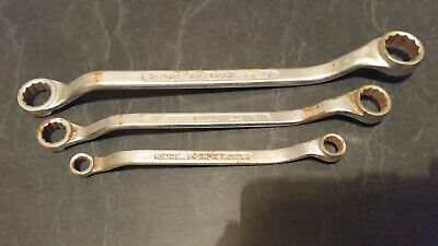 3 x vintage sidchrome ring spanners