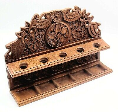 Vintage Estate Beautiful Wooden Hand Carved 5 Pipe Holder Stand