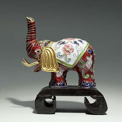 Collect China Old Cloisonne Hand-Carved Lovely Elephant Delicate Little Statue