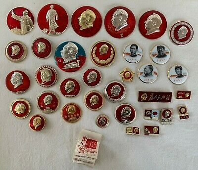 Chairman Mao Badge Collection - Total 43 - Nine Unopened In Mint Condition