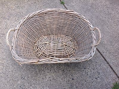 Vintage Cane Wicker Laundry Washing Basket