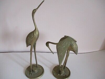Vintage Pair Of Brass Storks / Cranes Decorative Bird Figures