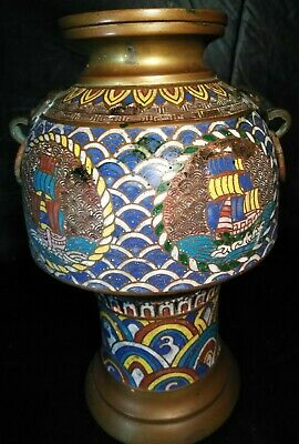 EXTREME RARE QING DYNASTY VASE URN JAR Chinese CLOISONNE ON BRONZE Asian Statue