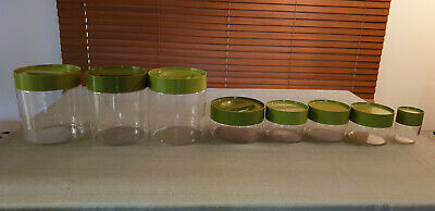 VINTAGE SET OF 8 PYREX KITCHEN CANISTERS - RETRO 70s