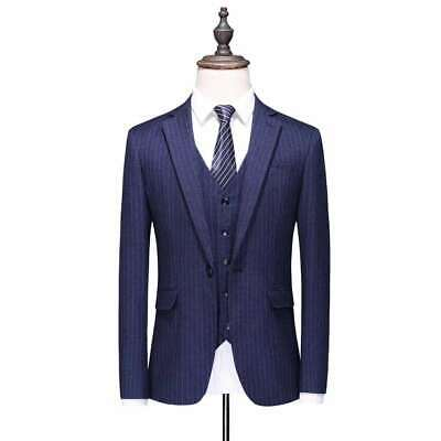 Men Blue Suit 3 Piece Stripe Groom Tuxedo Wedding Prom Party Formal Suit Custom