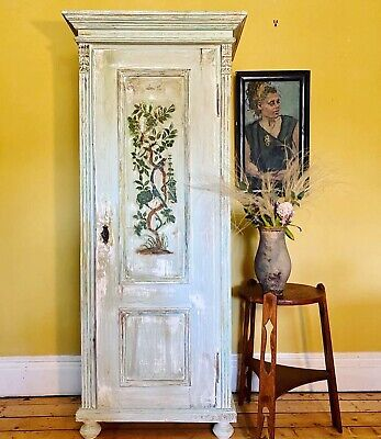 Vintage Painted Pine Hall Cupboard/ Small Wardrobe With Inlaid Design