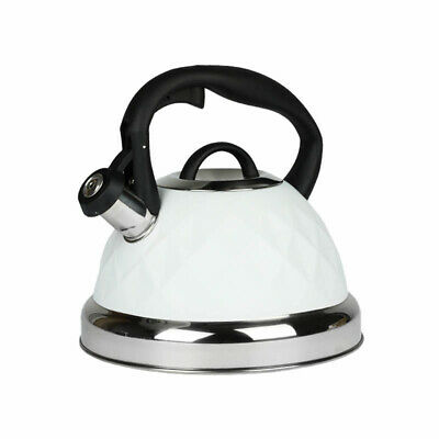 White Whistling Kettle 3L Stainless Steel Hob Stove Gas Induction Fast Boil Gift