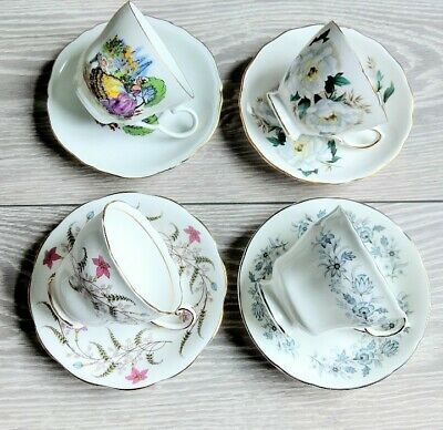 💐 4 Pretty Vintage Mismatched Bone China Tea Set Cups And Saucers 💐