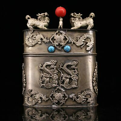 Collect China Old Miao Silver Hand-Carved Myth Dragon Auspicious Cigarette Case
