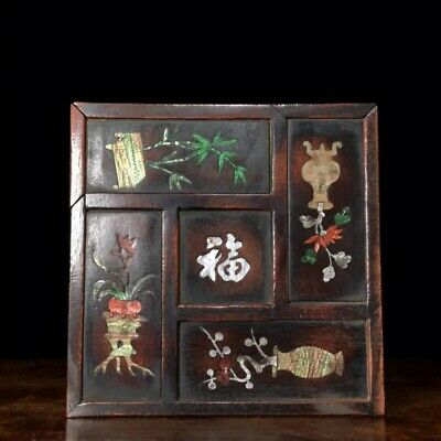 Collectable China Old Boxwood Inlay Seashell Hand-Carved Bloomy Flower Jewel Box
