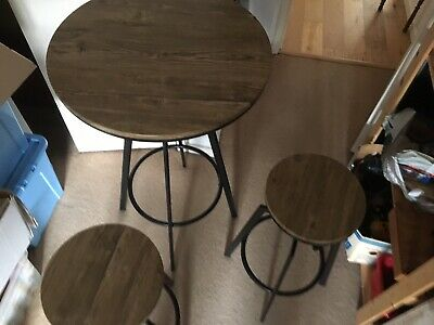 Industrial Breakfast Bar Table and Stools Vintage Pub Cafe Restaurant Dining Set