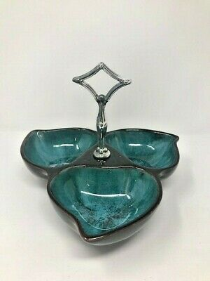VTG Blue Mountain Teal Green Blue & Brown Three Section Serving Dish With Handle