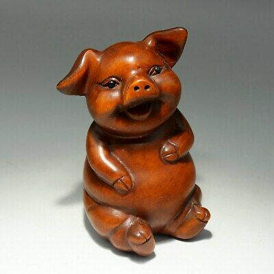 Collect Handwork China Antique Boxwood Carve Delicate Lovely Little pig Statue