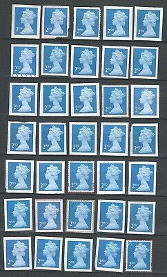 100x  Royal-Mail 2nd Class-blue unfranked security stamps on Paper (3)