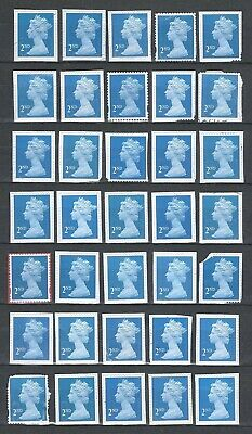 100x  Royal-Mail 2nd Class-blue unfranked security stamps on Paper (4)