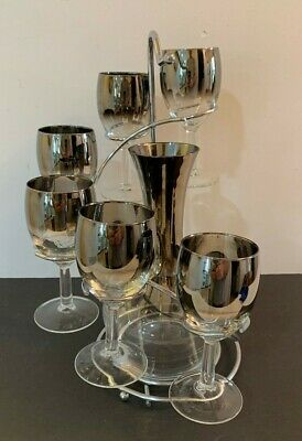 Mid Century Silver Fade Decanter & Glasses Set Dorothy Thorpe Vintage Retro 8p