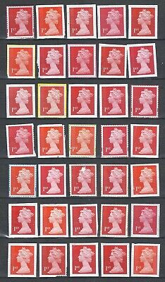 100x  Royal-Mail 1st Class-red and gold unfranked security stamps on Paper