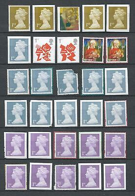 100x  Royal-Mail 1st Class different unfranked security stamps on Paper