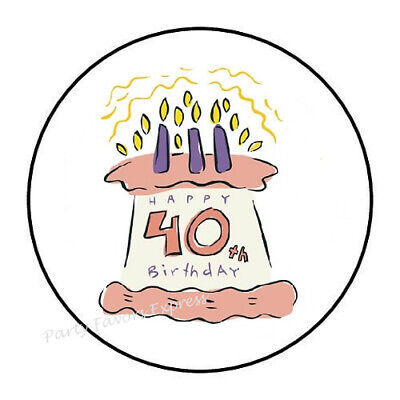 """30 HAPPY 40TH BIRTHDAY ENVELOPE SEALS LABELS STICKERS PARTY FAVORS 1.5/"""" ROUND"""
