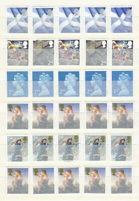 100x  Royal-Mail 2nd Class- mostly blue unfranked security stamps off Paper