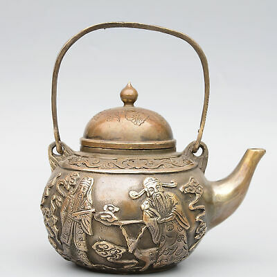 Collect China Antique Bronze Hand-Carved Immortal Figure Moral Auspicious Teapot