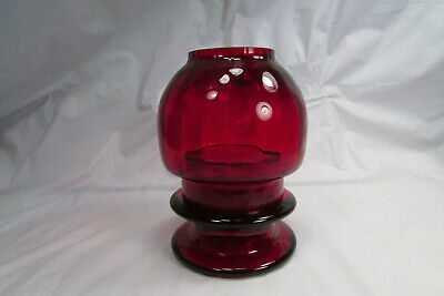 Rare Vintage CCA Candle Corp Ruby Red Fairy Lamp Glass Tealite Taiwan Arabesque