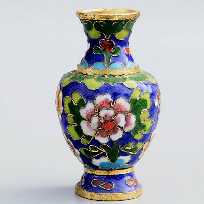 Collectable China Old Cloisonne Hand-Carved Bloomy Flower Delicate Unique Vase