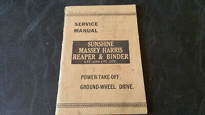 service manual sunshine massey harris reaper & binder power take off