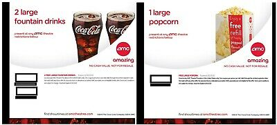 AMC Theaters (2x) Large Drinks and (1x) Popcorn Voucher 6/30/2020 Fast Delivery