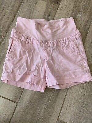 H&M Mama Pink Linen Maternity Over Bump Shorts 12