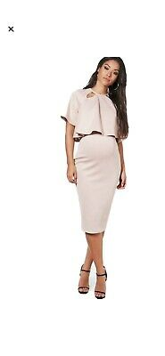 Boohoo Maternity Jessie Double Layer Wiggle Dress In Sand Size 12