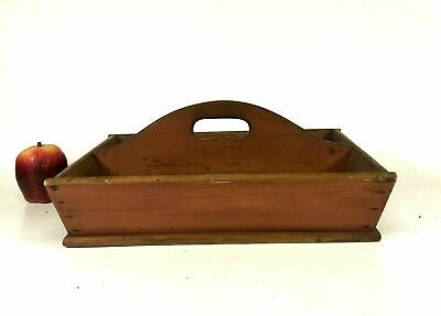 Large Antique Primitive Wooden Handled Cutlery Tray in Red Salmon Paint